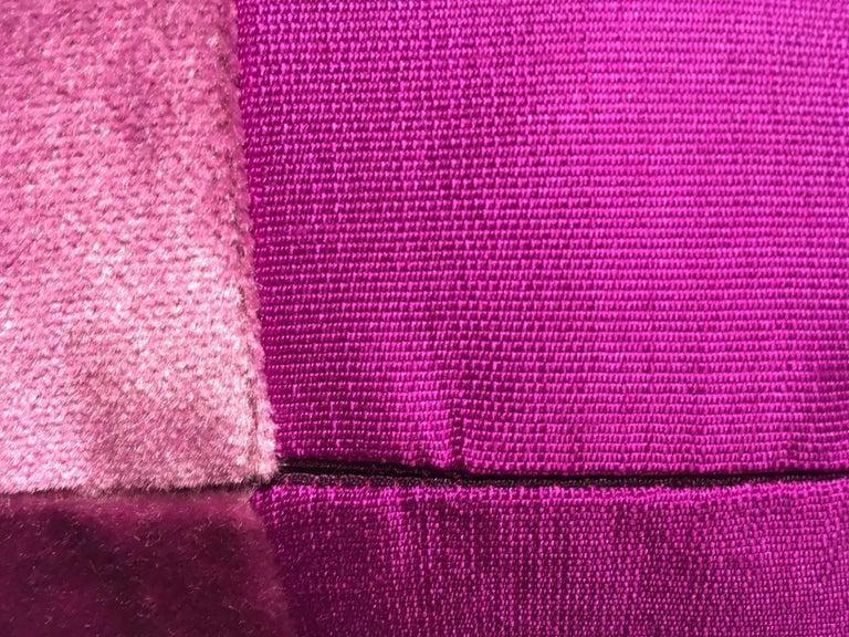 German Silk Cushions Mohair Centre Stripe Colour Cyclamen For Sale