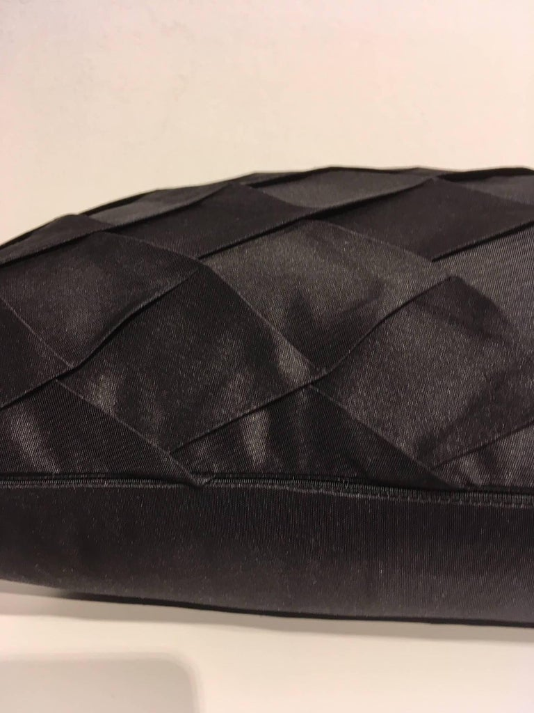 German Pair of Silk Cushions Pleated Opal Pattern Embossed Color Black Rectangular For Sale