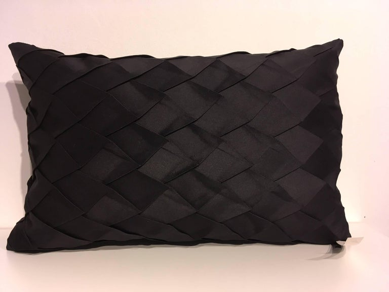 Modern Pair of Silk Cushions Pleated Opal Pattern Embossed Color Black Rectangular For Sale