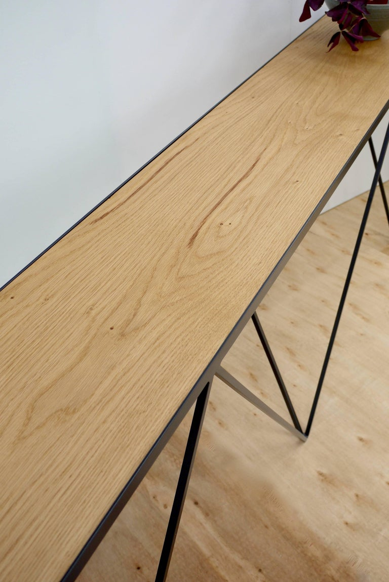 Bespoke Long Giraffe Console Table in Black Steel and Oak For Sale at 1stdibs
