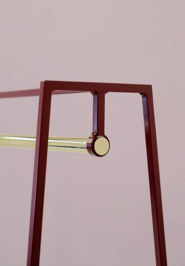 The steel slimline 'A' clothes rail is one of &New's signature pieces. A stunning addition to any bedroom or hallway, the minimal design looks delicate but is surprisingly robust. This one is powder coated in beetroot, but the clothes rail comes
