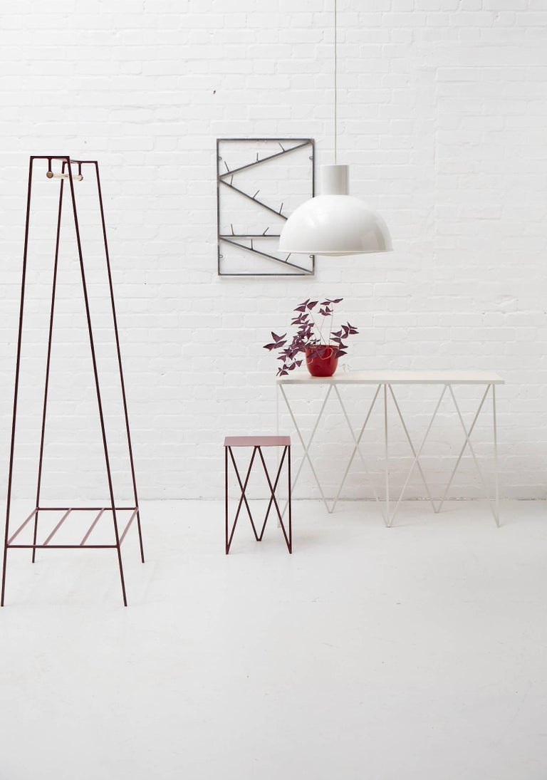 'A' Clothes Rail in Beetroot with a Brass Pole For Sale 1