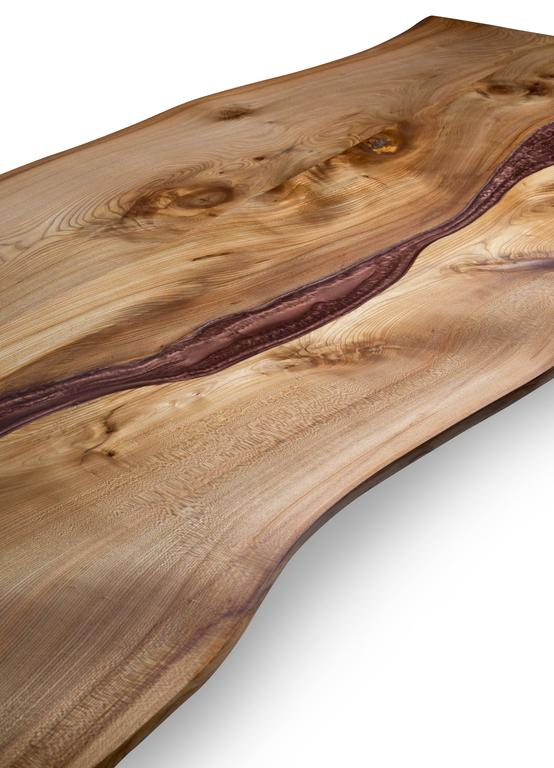 Resin River And Live Edge Wood Coffee Table For Sale At