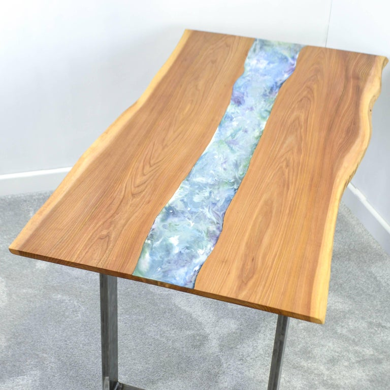 30 Live Edge Coffee Tables That Transform The Living Room: Organic Modern Live Edge Elm Resin Art Dining Table For
