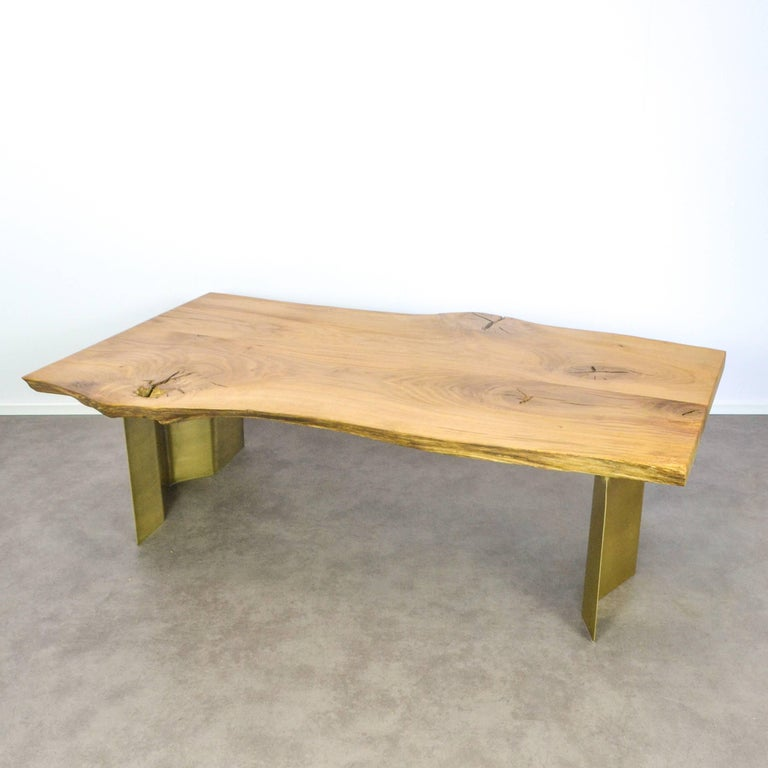 Legs For Live Edge Coffee Table: Natural Live Edge Oak Coffee Table On Brass Wave Legs For