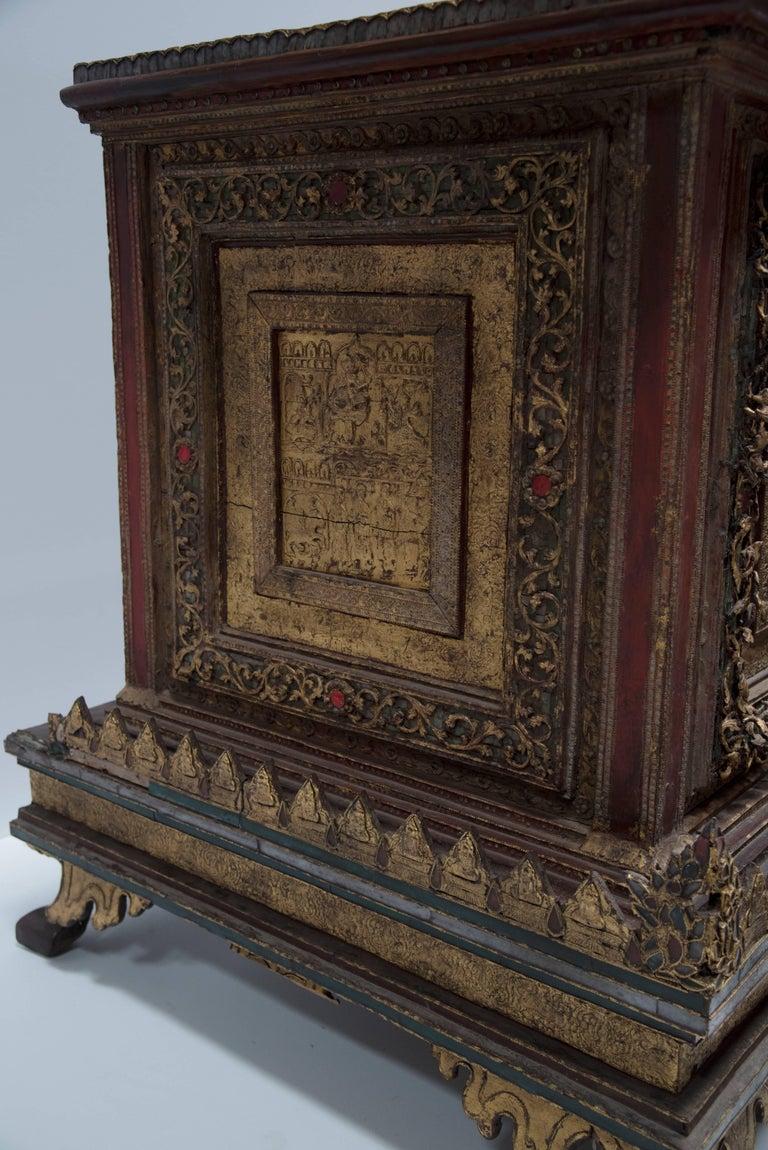 Carved Seated BURMESE Mountain BUDDHA For Sale