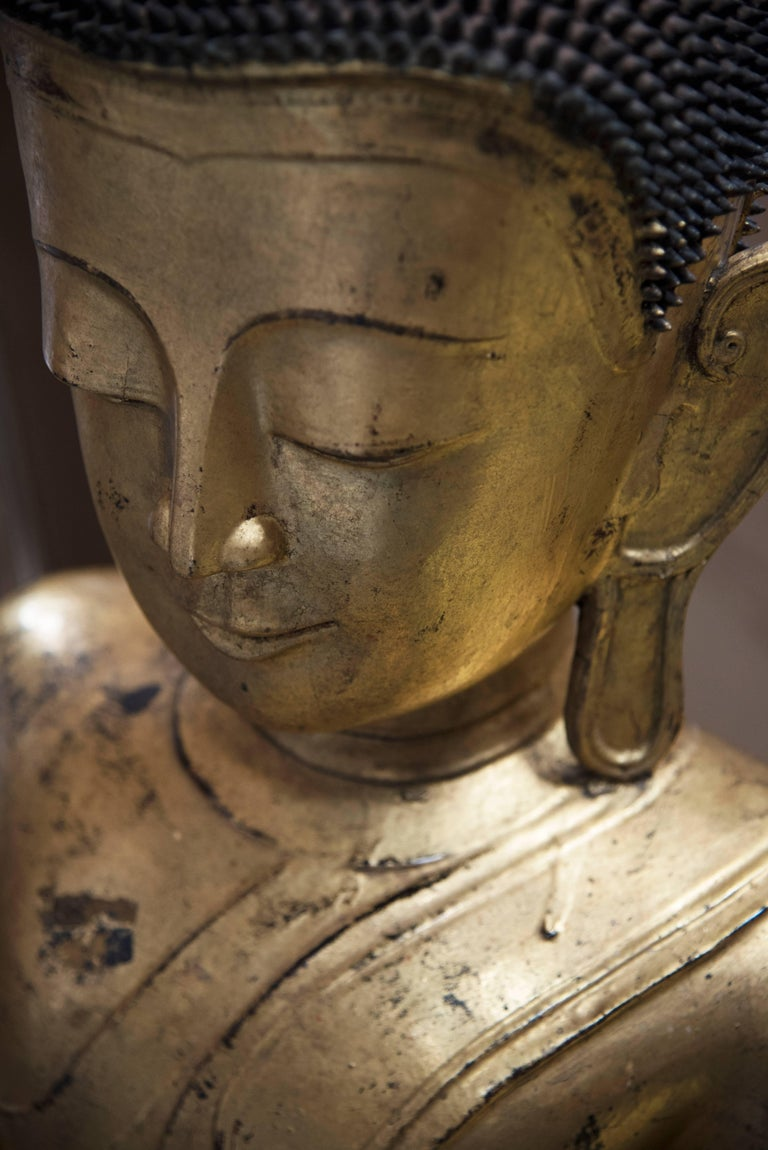Seated BURMESE Mountain BUDDHA In Excellent Condition For Sale In Hawthorne, CA