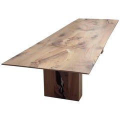 Contemporary English Elm Dining Table, Bookmatched, by Jonathan Field
