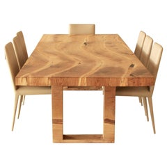 Contemporary Salvaged English Oak Dining Table, Inset Live Edge