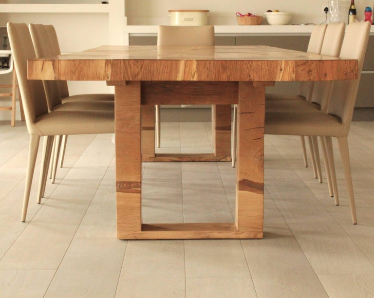 Salvaged English Oak Dining Table For C And J Made From Several Slabs Of