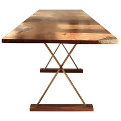 Contemporary Ripple English Walnut Cross Leg Table with Resin. Bespoke sizes.