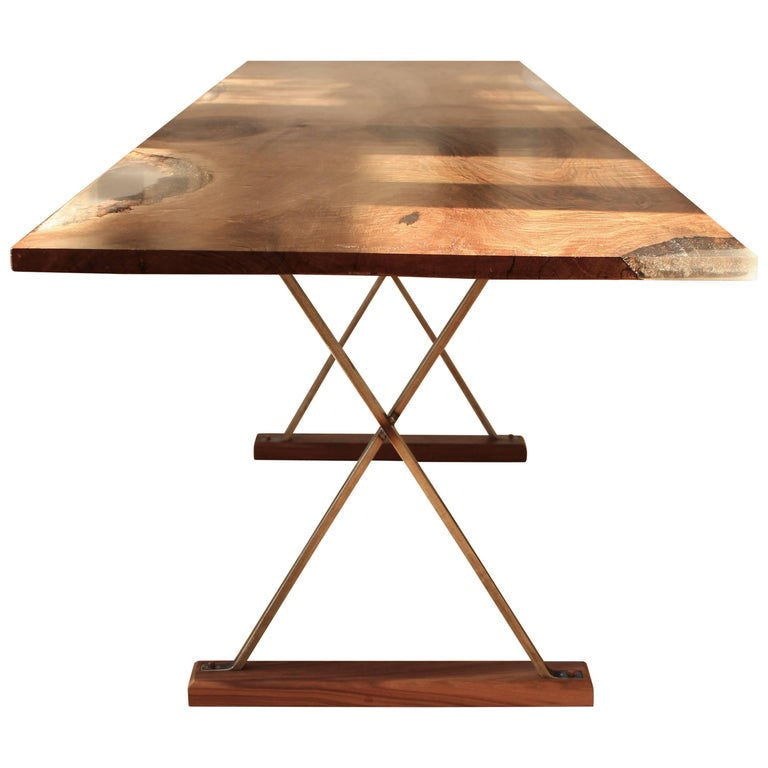 Contemporary Ripple English Walnut Cross Leg Table with Resin. Bespoke sizes. For Sale