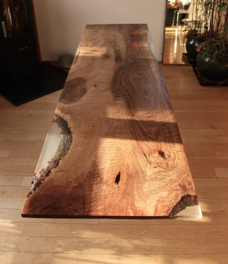 Industrial Contemporary Ripple English Walnut Cross Leg Table with Resin. Bespoke sizes. For Sale