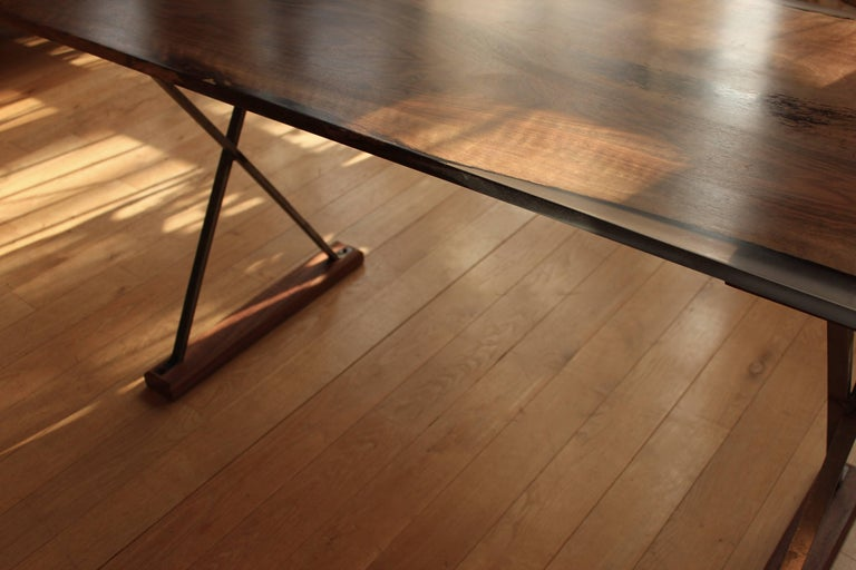 Contemporary Ripple English Walnut Cross Leg Table with Resin. Bespoke sizes. In New Condition For Sale In London, GB