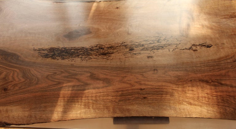 Contemporary Ripple English Walnut Cross Leg Table with Resin. Bespoke sizes. For Sale 1