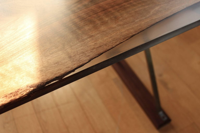 Contemporary Ripple English Walnut Cross Leg Table with Resin. Bespoke sizes. For Sale 4