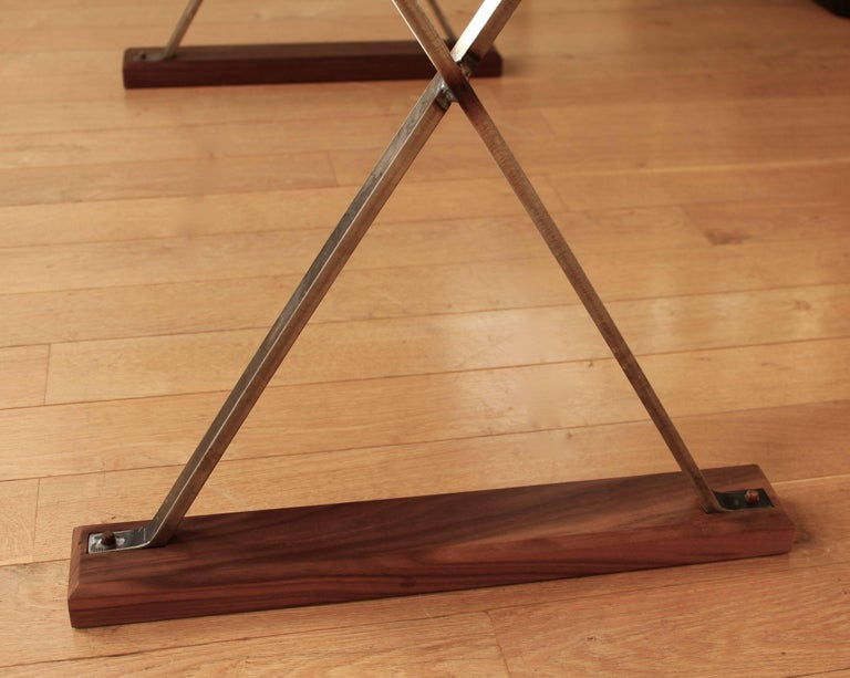 Contemporary Ripple English Walnut Cross Leg Table with Resin. Bespoke sizes. For Sale 6