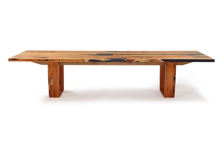 Modern Contemporary English yew table, bookmatched inset live edge and resin. In stock  For Sale