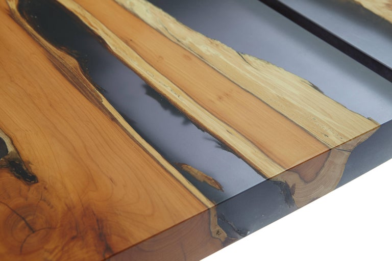 Contemporary English yew table, bookmatched inset live edge and resin. In stock  In New Condition For Sale In London, GB