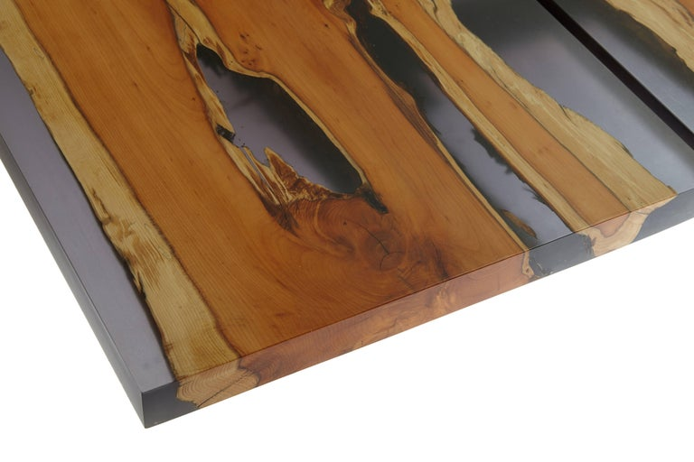 Resin Contemporary English yew table, bookmatched inset live edge and resin. In stock  For Sale