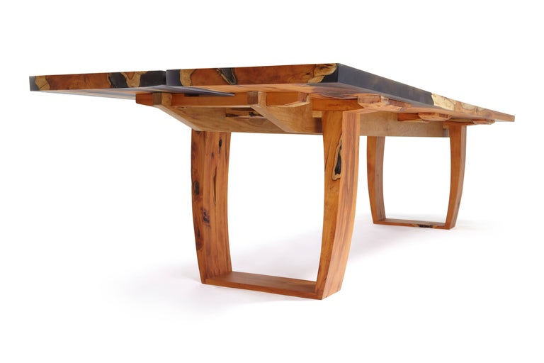 Contemporary English yew table, bookmatched inset live edge and resin. In stock  For Sale 1