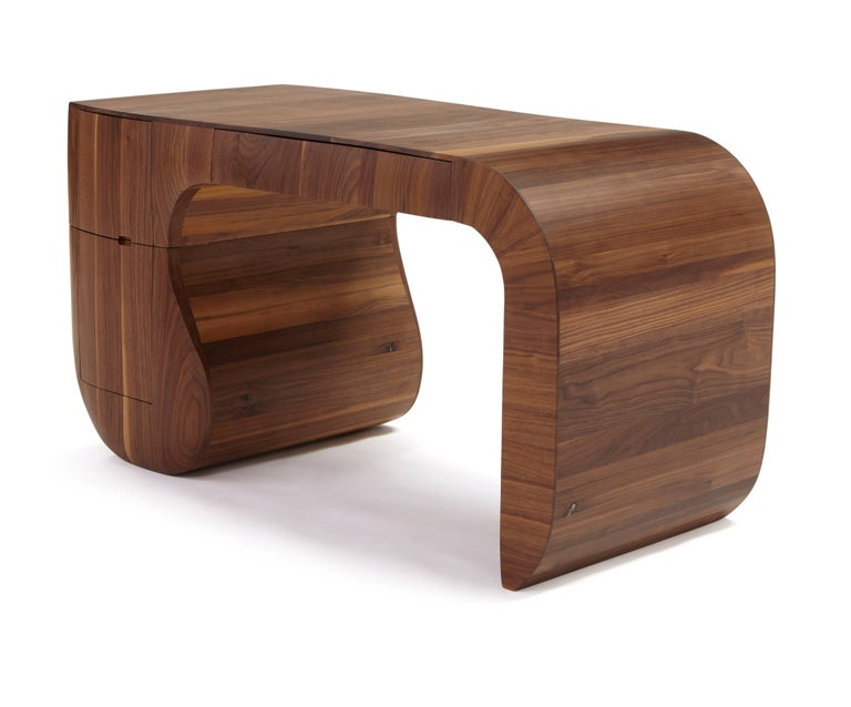 Laminated Contemporary 'Opener' desk in American black walnut. No4 of 5 edition in stock. For Sale