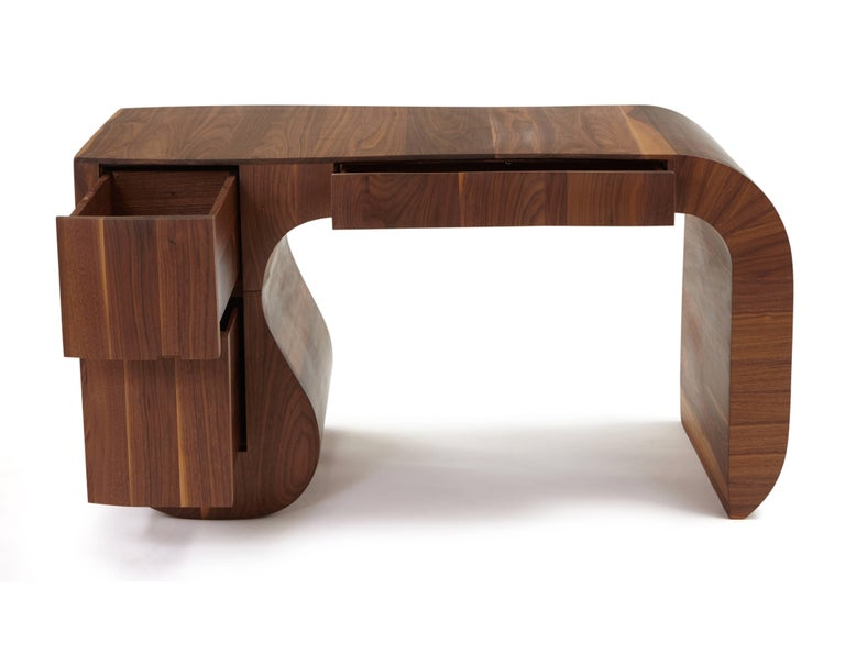 Walnut Contemporary 'Opener' desk in American black walnut. No4 of 5 edition in stock. For Sale