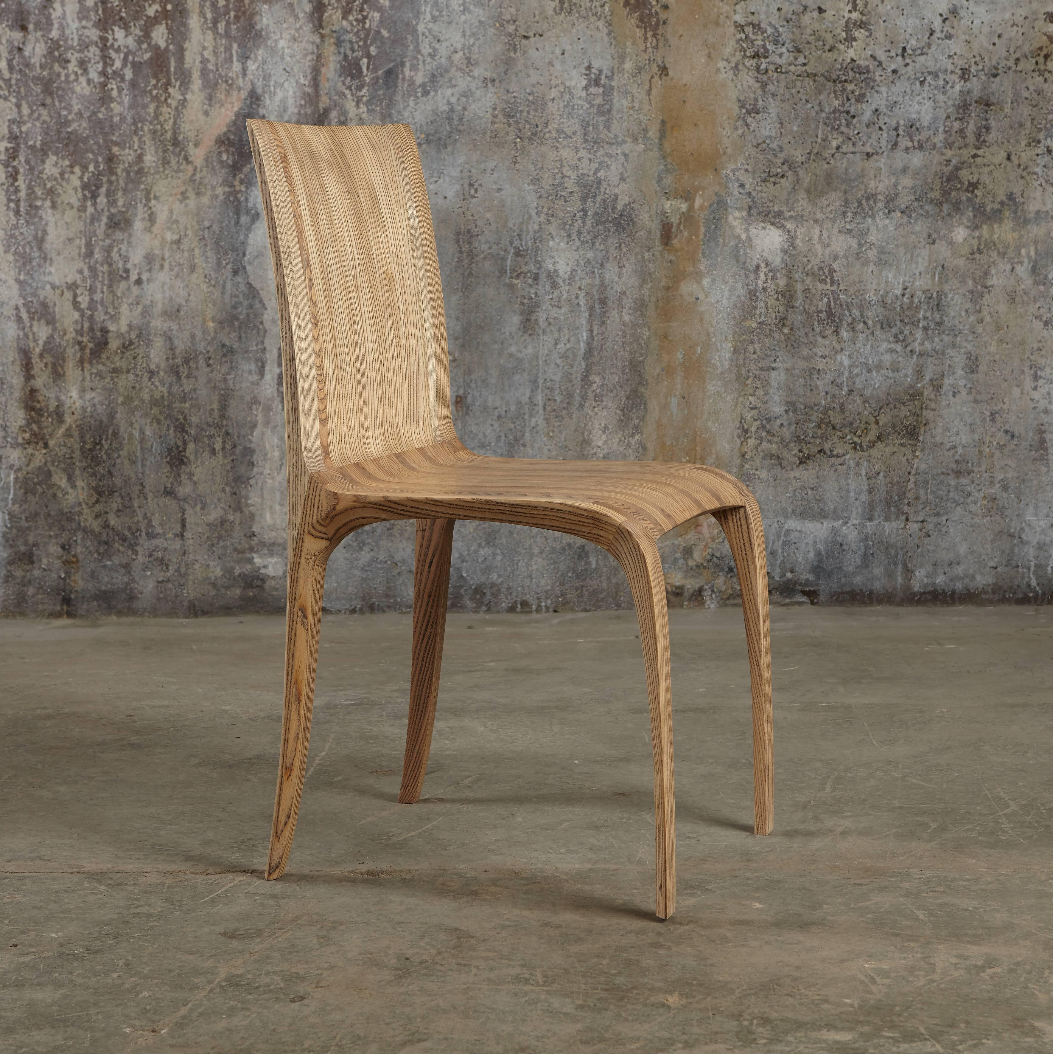 Hand Carved Award Winning Contemporary Rippled Ash Hand Carved Chairs, Six  In Stock