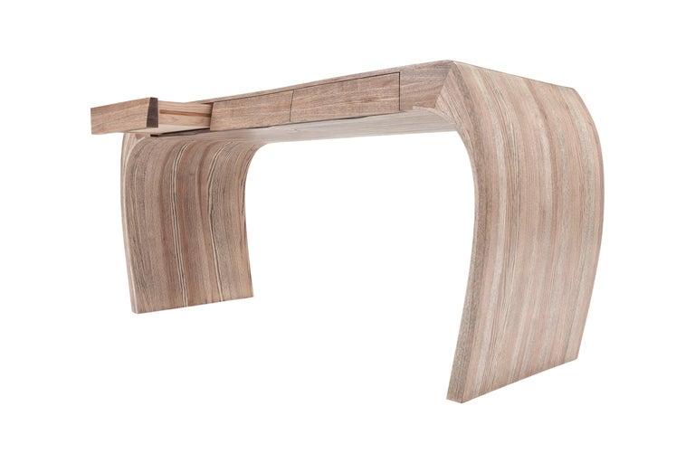 Ash Desk, Steam Bent with Ebony Grain and White Oil Finish 5