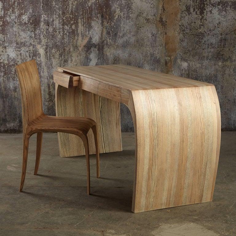 Ash Desk, Steam Bent with Ebony Grain and White Oil Finish 2