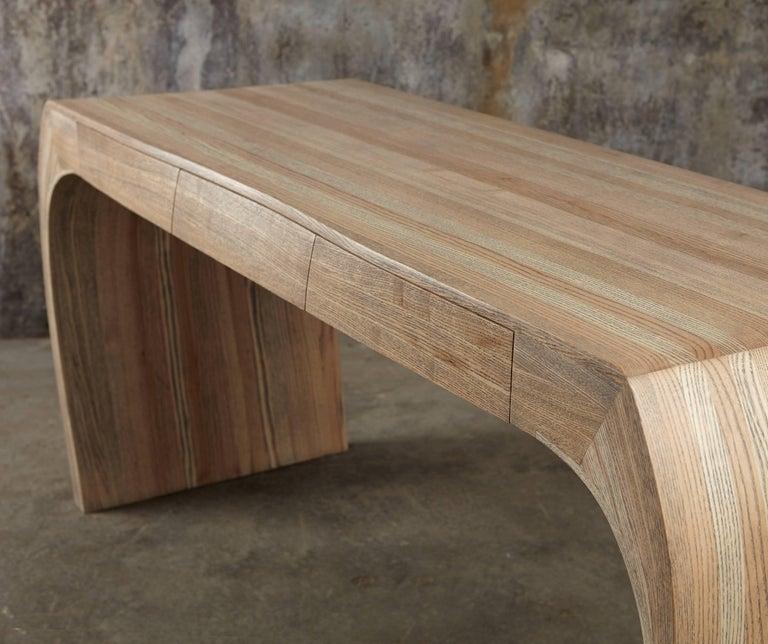 Ash Desk, Steam Bent with Ebony Grain and White Oil Finish 10