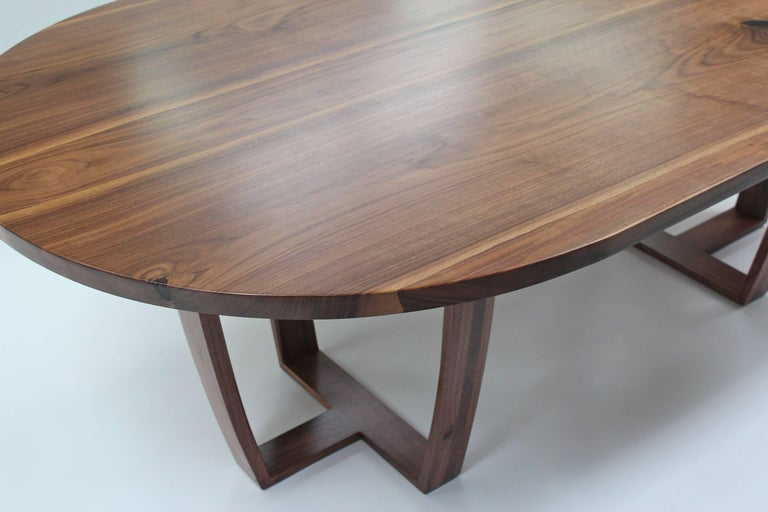 Contemporary Oval Dining Table In Book Matched American Black Walnut