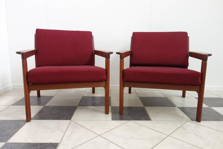 Pair of Danish Teak Easy Chairs in Arne Wahl Iversen Style, Reupholstered 2
