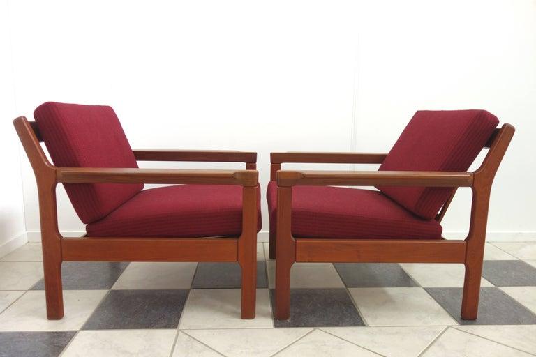 Pair of Danish Teak Easy Chairs in Arne Wahl Iversen Style, Reupholstered 3