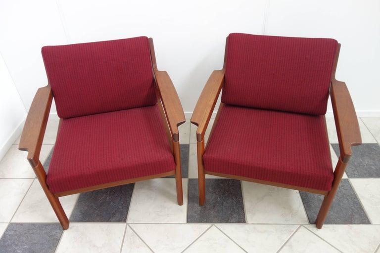 Pair of Danish Teak Easy Chairs in Arne Wahl Iversen Style, Reupholstered 4