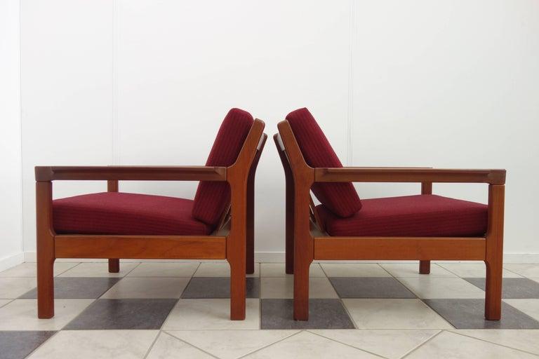 Pair of Danish Teak Easy Chairs in Arne Wahl Iversen Style, Reupholstered 5