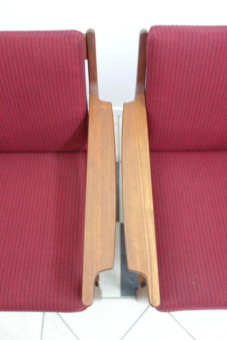 Pair of Danish Teak Easy Chairs in Arne Wahl Iversen Style, Reupholstered 6