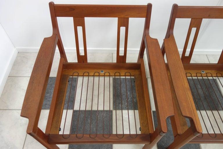 Pair of Danish Teak Easy Chairs in Arne Wahl Iversen Style, Reupholstered 8