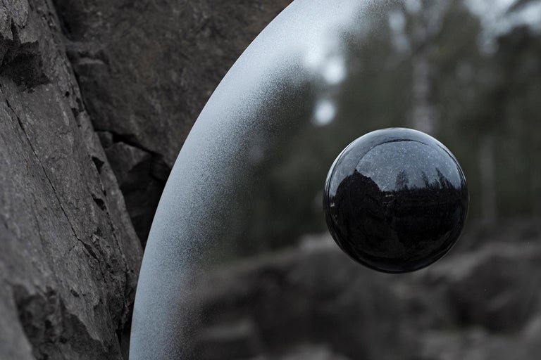 Polished Contemporary Eclipse, Steel Mirror with a Diabase Stone For Sale