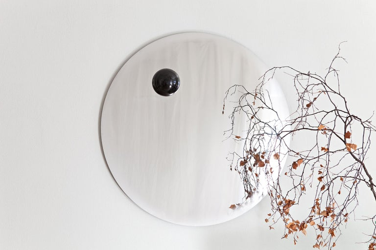 Stainless Steel Contemporary Eclipse, Steel Mirror with a Diabase Stone For Sale