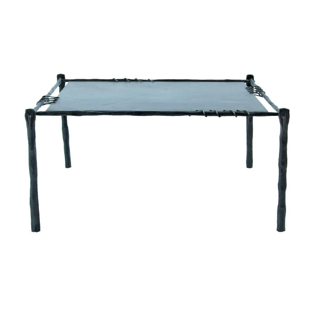 Hand Forged Wrought Iron Coffee Table, End Table, Side Table In Two Sizes