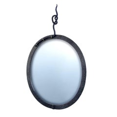 Hand Forged, Sculptural, Modern, Nautical Wrought Iron Mirror with Rope Detail