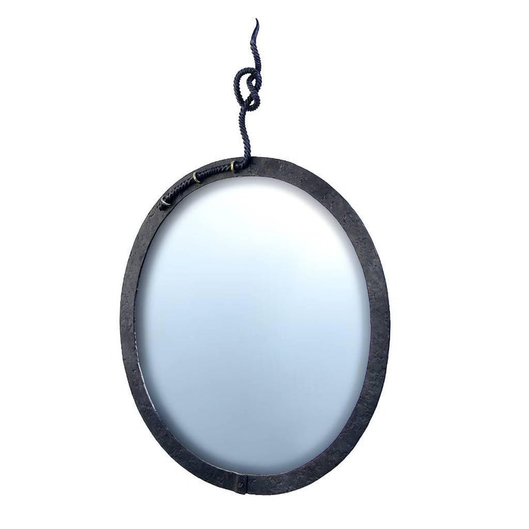 Hand Forged, Sculptural, Modern, Nautical Wrought Iron Mirror with Rope Detail For Sale