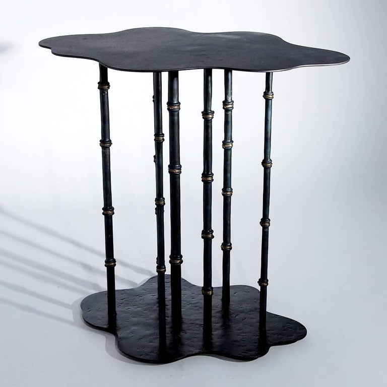Hand forged sculptural modern wrought iron bamboo side