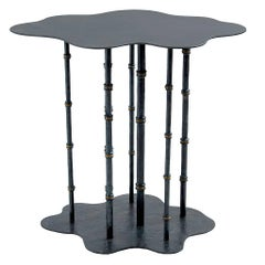 Hand-Forged, Sculptural, Modern Wrought Iron Bamboo Side or Cocktail Table