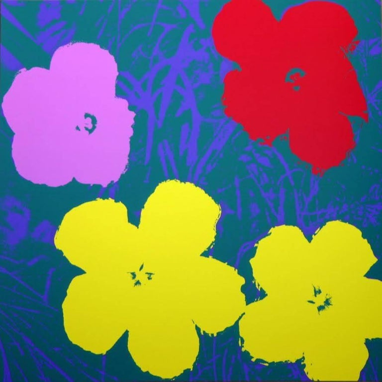 """Reproduction silkscreen print of Andy Warhol's """"Flowers"""" series. Multiple colors available at 36"""" x 36""""."""