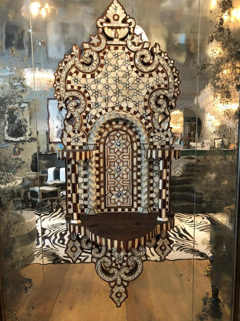 Pair of Antique Syrian Mirrored Panels, circa 1880 In Good Condition For Sale In West Hollywood, CA