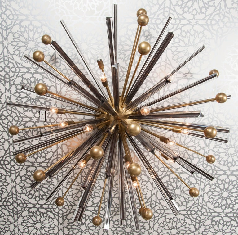 Triedri crystal and brass Sputnik flush mount chandelier