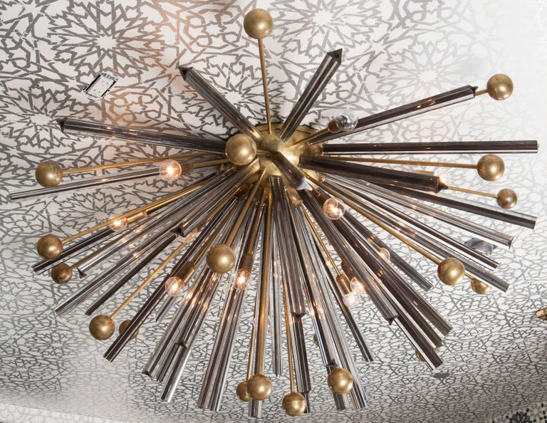 Contemporary Triedri Brass Sputnik Flush Mount Chandelier For Sale