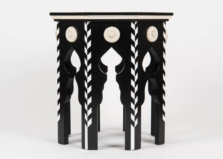 Martyn Lawrence Bullard's custom pasha side table in ebony finish and faux ivory details. Priced on above finish, please ask for a quote for other finishes.
